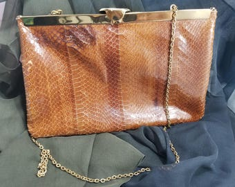 Darling Etra Snakeskin Leather Evening Clutch with Hidden Chain