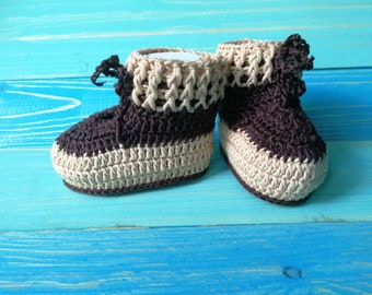 Crochet booties Knitted booties Brown booties Girls booties Boys booties Cotton booties Baby gift