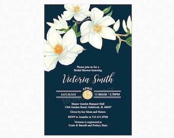 Magnolia Bridal Shower Invitation, Floral Bridal Shower Invitation, Spring Bridal Shower, Mint Green, Gold, Glitter, Printable or Printed