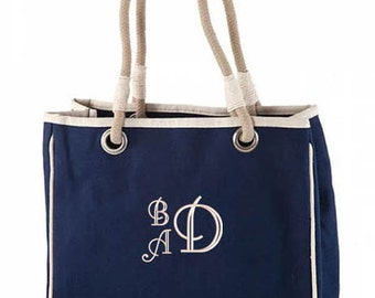 Monogrammed Rope Tote Bag Natural Canvas, Navy, Hot Pink