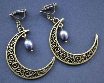 Crescent moon earrings, pearl earrings, gothic earrings, filigree pendant earrings, clip on earrings, no pierced earrings