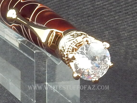 Mother's Day Chocolate Brown Twist Pen, Adorned with Swarovski Crystal and Finished in 24k Gold