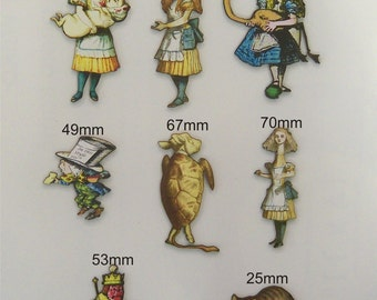 Alice in Wonderland and friends 8 x Woodcuts with picture graphics