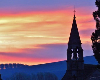 Canvas print, sunrise with church, pink, blue, purple, wall art, landscape, donation to Wiltshire Wildlife Trust, wonderful gift