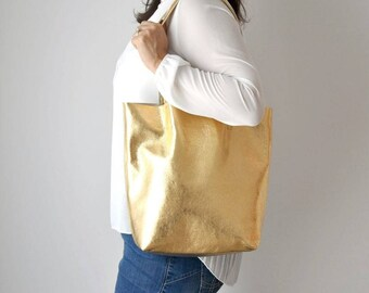 EMMA BAG Borsa in pelle oro, borsa dorata, borsa pelle, shopper oro, borsa vera pelle, shopper metallizzata, borsa metallizzata, borsa oro