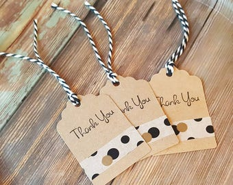 THANK YOU TAGS, 12 Black Gold Polka Dot Tags, Party Favor Tag, Kraft Gift Tags, Kraft Tags, Black Gold Party Tags, Black Gold Polka Dot Tags
