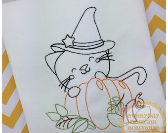 Cat with Pumpkin Machine Embroidery Vintage Design
