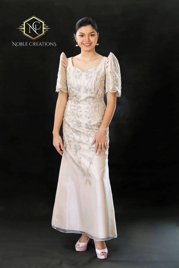 FILIPINIANA DRESS Embroidered and Beaded MESTIZA Maria Clara