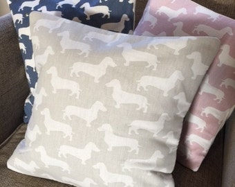 Handmade cushion cover | Dachshund/Sausage Dog/Weiner Dog print | A range of colours and sizes available