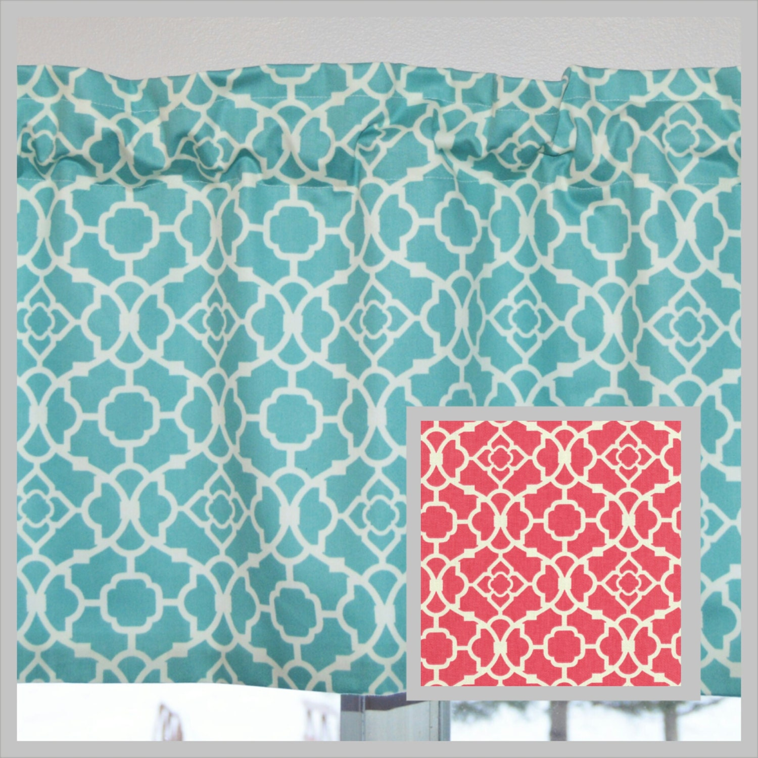 Kitchen Curtain / Valance . Aqua Blue or Coral . Lovely