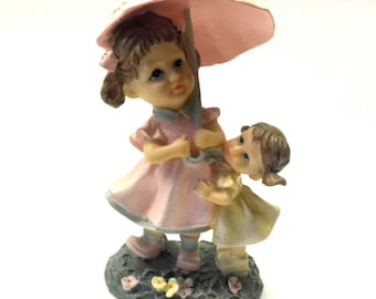 Vintage Figurine Two Girl Under An Umbrella Germany Polyresin Home Decor