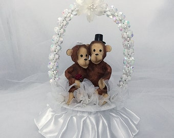 Animal Wedding Cake Topper- Monkey Wedding Cake Topper- Bride and Groom-Animal Lover- Cute Wedding Cake Topper-Wedding Gift-Wedding Keepsake