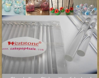 """50pcs 4"""" (10cm)  Crystal Clear Sticks For Cake Pops or Lollipop Candy - Solid acrylic"""