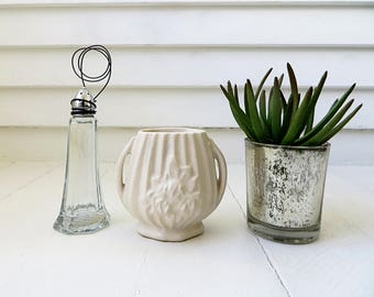 Photo stand from vintage repurposed salt shaker / Farmhouse decor / Upcycled / Recipe card holder