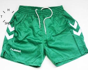 Vintage HUMMEL sports shorts / Beachwear Pool short pants / Boardshorts swim suit / Retro football soccer sport trunks / 80s 90s