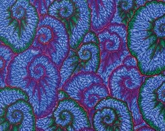 Kaffe Fassett Flowers Curlique Blue Philip Jacobs Fabric 1 yard