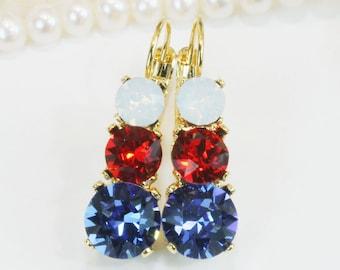 Red Blue White Earrings 4th of July Patriotic Swarovski Crystal Drop Earrings Set,Jayhawks Rangers american Flag Bridesmaids Gift,Gold,GE45