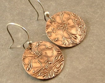 Copper Botanical Earrings  Floral Earrings  Rustic Jewelry Gifts for Her Under 30