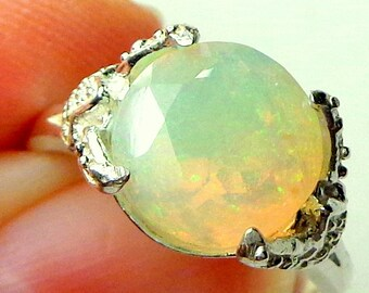 Round, Faceted, Welo Opal Ring, Sterling Silver Ring, Color Play Opal, Green, Yellow, Orange, Ethiopian Opal Ring, OOAK