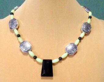 Sale Jade, Obsidian, Silver, Crystal  Necklace / Jade Necklace / Gemstone Necklace / New Jade Necklace / Obsidian Necklace