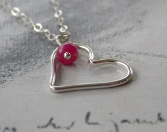 Ruby Heart Sterling Silver Necklace, Heart Charm Necklace, Romantic, Modern, Minimalist, Valentine's Gift