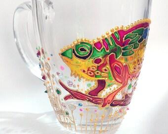 Hand Painted Large Coffee Mugs, Chameleon colorful Large Coffee mug, Animal Coffee Mug, Mug for mom, Painted coffee mugs, Hand painted mugs