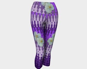 Purple Pansy Wave Yoga Capri