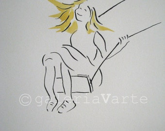 Original ink and watercolor drawing - Children on a swing - europeanstreetteam