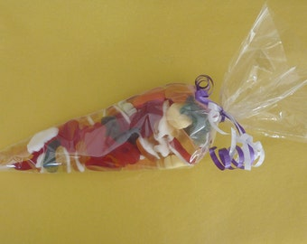 50 Party Bags *Clear* cone cello cellophane sweet candy display kids favour
