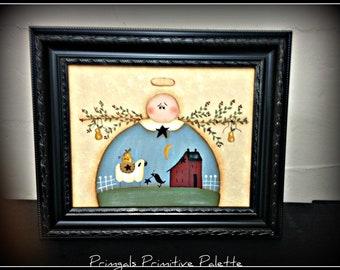 Primitive Garden Angel 8 x 10 Framed Canvas-Sheep-Saltbox House-Home Decor Wall Art