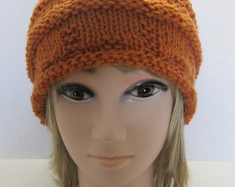 Hand Knit  Persimmon Slouchy  Hat