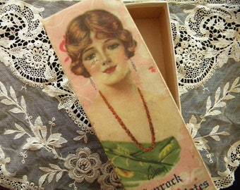 Antique Candy Box with Flapper Girl Portrait on Lid Penrock Chocolate Container Frederick Duncan Artist