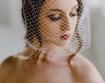 Birdcage Veil | French Netting Veil | Short Bridal Veil | Petite Wedding Birdcage Veil | Ivory Blusher Veil | Farrah Veil