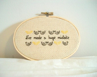 Huge Mistake cross stitch -- inspired funny, simple cross stitch, minimalist with banana and chicken motif