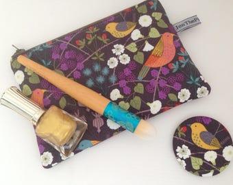 makeup bag, birds, small makeup bag, zipper pouch, cosmetics  purse, phone case, purse, makeup storage, bird, lewis and irene.