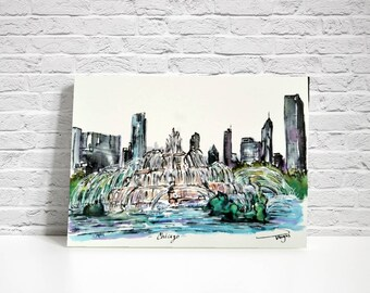PRINT of Buckingham fountain Chicago Series of my original ink and watercolor sketch