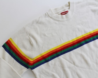 90's Vintage Rainbow Stripe Off White Sweater by Union Bay // One Size
