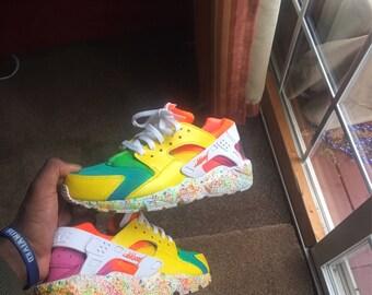 Custom Huarache Triple White Nike Huarache Rainbow Yellow Huaraches  Customized