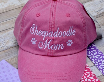 Sheepadoodle Mom Dog Hat - Dad Hat - Dog Lover Baseball Cap - Paw Prints - Pigment Dyed -  The Best Personalized Gifts by Three Spoiled Dogs