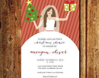 Bridal Christmas Shower Invitation; Christmas Wedding Shower; Holiday Shower Invitation; Custom Digital File