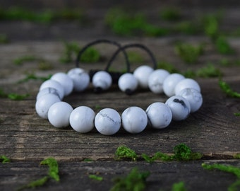 Howlite Bracelet, Adjustable Bracelet, Gemstone Jewerly, Howlite Stone, Healing Crystal, Bohemian Bracelet, Beaded Bracelet, White Stone