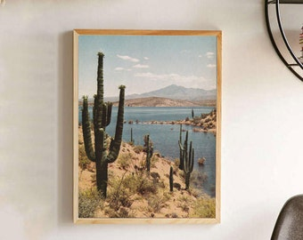 Vintage Arizona Saguaro Lake Photograph Poster - Arizona Saguaro Cactus Photo Wallart - Desert Adventure Blue Skies Wall Art Print