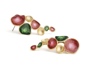 Pink Earings : Pink and Green Earings by oBo Creations