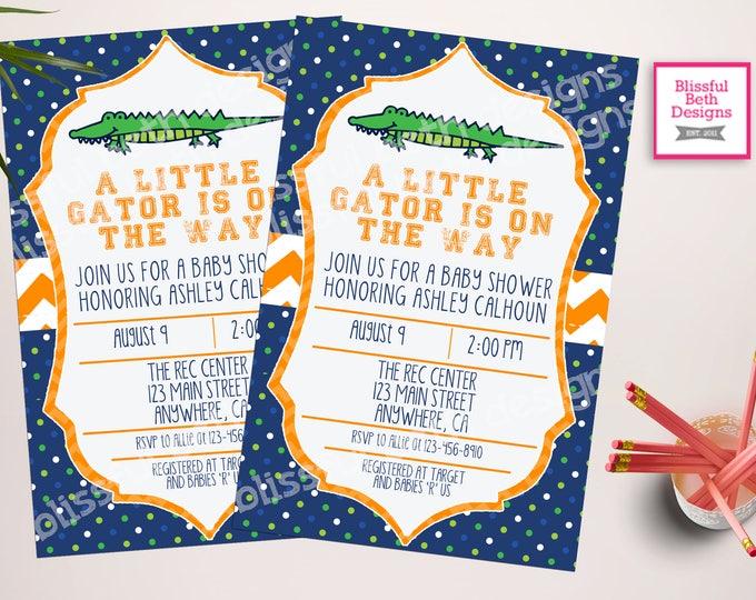 GATOR BABY SHOWER Gator Baby Shower Invitation, Florida Baby Shower Invitation, Gator Shower, Gator Invitation, Alligator, Alligator Shower
