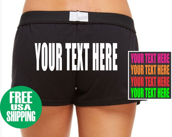 YOUR TEXT HERE Soffe Low Rise Black Shorts Gym Work Out Cheer Booty Sexy Hot Custom Personalized Customized Instagram Twitter Name Fit Chick