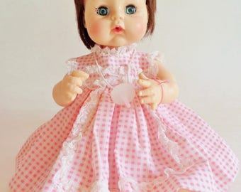 Vintage Madame Alexander Sweet Tears Doll - 1965 - Brown Hair and Blue Eyes - Pink Dress - 13""