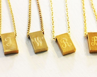Engraved Letter Necklace, Initial Necklace, Gold Initial Necklace, Gold Necklace, Name Necklace