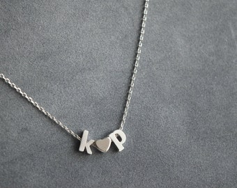 Silver initial letter necklace, initial charm  necklace,  bridesmaid gift, gift necklace
