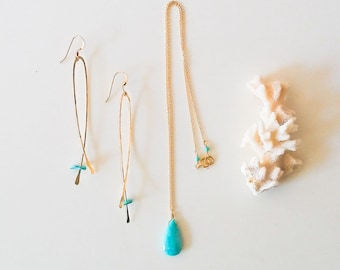 Tear drop faceted turquoise and 14k gold filled chain necklace,14k gold fill and turquoise(sleeping beauty)Earrings