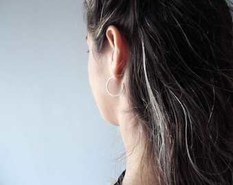 ESSENTIAL Hoop Earrings - Silver Square Hoop Earrings - Basic Hoop Earrings - Minimal Earrings - Squared Hoops - Sterling Silver Hoops